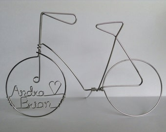 BIKE LOVE: Standing Simple Personalized Bicycle Wedding Cake Topper