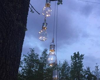 Solar Patio Lighting - Solar Bulbs Chandelier - Outdoor Chandelier Light Industrial Rewind Solar Chandelier