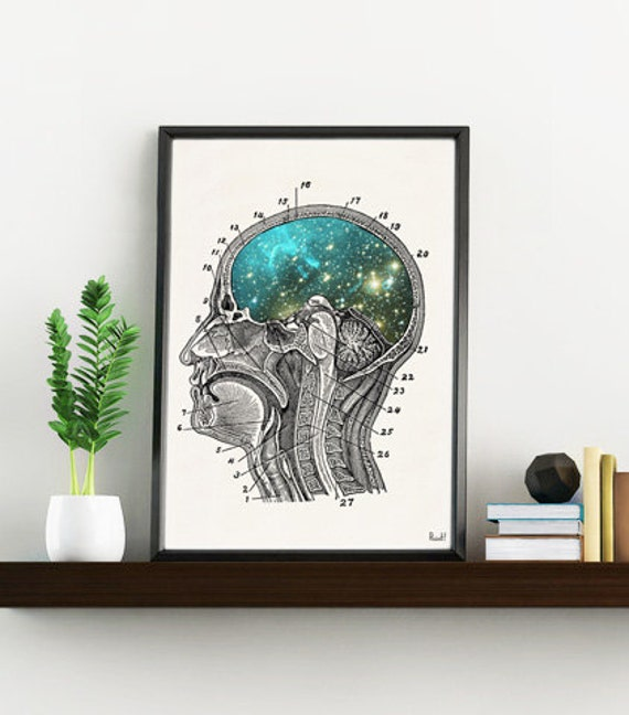 Cosmic Brain collage Gift for science student. Wall decor- Doctors gift-Wall art Human Anatomy Galaxy art print SKA112WA4