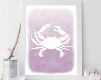 Lavender Crab, Crab Print, Crab Wall Art, Beach Crab, Beach House Print, Cottage Chic, Beach Art, Ocean Art, Coastal Print Digital Download