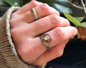 Waxing Moon Rise Moonstone Ring, Minimalist Moonstone Ring