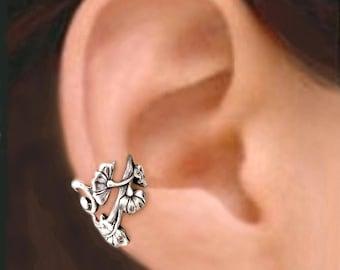 Art Nouveau ear cuffs Sterling Silver earrings Jewelry handmade Art Nouveau earrings Sterling silver ear cuff flower ear cuff ear clip C-139