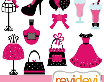 Fashion boutique clipart sale - tween diva party sweet 16 clip art commercial use - mannequin, dress, purse, milk shake / girly pink black