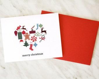Christmas Card / Merry Christmas Card / Christmas Heart Card / Christmas Love Card / Noel Card