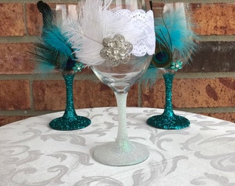 Feathers and Jewels Bride Toasting Glass