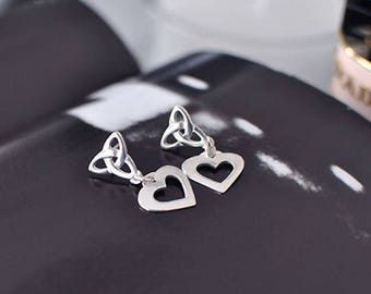 Celtic Eternity Knot Heart Earrings - Sterling Silver - C172