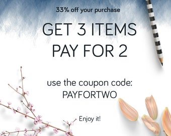 Coupon GET 3 items PAY for 2