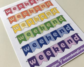 A26 - Weekend Banners - Planner Stickers