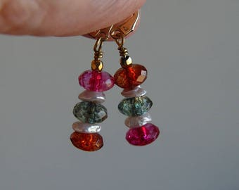 Tourmaline and Keishi Pearl Earrings