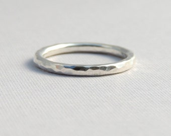 Sterling Silver Hammered Band Simple Sterling Silver Stackable Ring