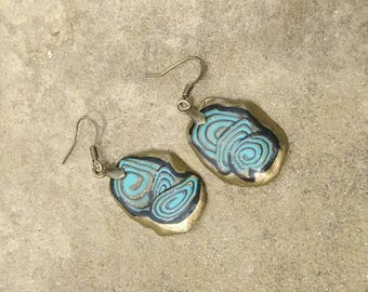 Turquoise Earrings, Turquoise and Gold Dangles, Polymer Clay Cane Earrings, Southwestern Earrings, Lightweight, Free Form Dangles
