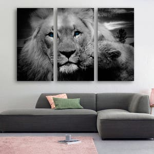 Merveilleux Blue Eyed Lion U0026 Cub Canvas Print Wall Art   3 Panel Split, Triptych.