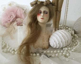 Half-tea-doll bust Teepuppe wax Doll Boudoir French antique beige decoration Brocante Edwardian style gift