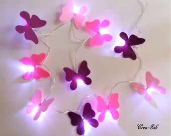 """Butterfly"" 10 led and plum pink felt Garland"