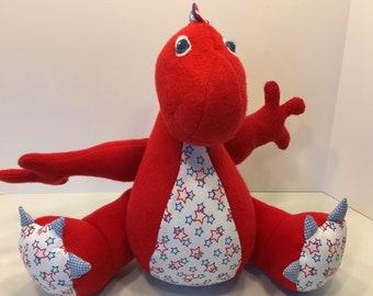 Dinosaur Plush, Dinosaur Stuffed Animal, Dinosaur Toy, Dinosaur Softie, Toy for Toddler, Patriotic Dino, Cuddle Toy, Child Bedroom Decor