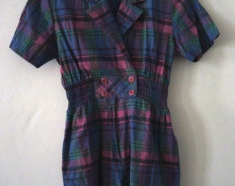 Vintage checked plaid tapered playsuit Petite 1980s 80s