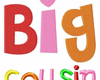 Big Cousin - Girl - Embroidery Design INSTANT download