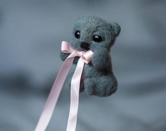 Felt Christmas ornaments, Christmas Bear ornament, Needle felted Bear, needle felted Animal Christmas, Cute Bear decoration, felted toy