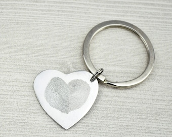 Valentine's Day Heart Keychain, Fingerprint Heart Keychain, Anniversary Gift for Her or Him, Love Fingerprint Keychain, Personalized Gift