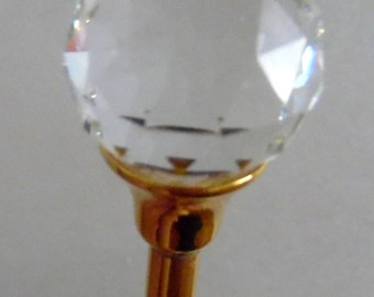 Crystal ball- gold-tone hair pin/ accessory.
