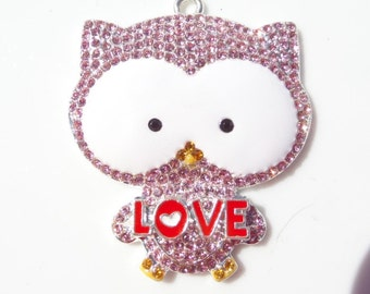 45mm, Owl rhinestone Pendant for chunky beads Jewelry Necklace, P11