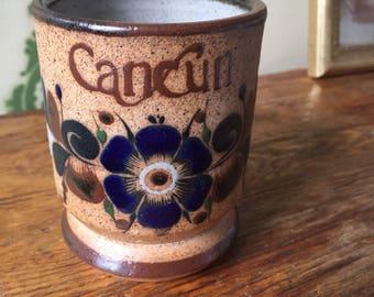 Cancun handmade vintage coffee mug handpainted