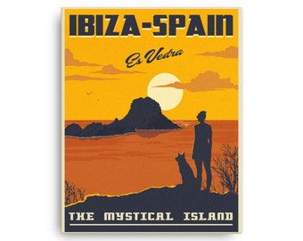 Ibiza Spain | Vintage Travel Poster | Canvas (16x20in)