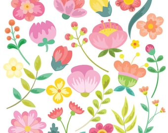 Flower Clipart and Vector Set - Instant Download - Personal and Commercial Use