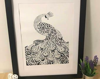 Peacock, handmade papercut, black and white