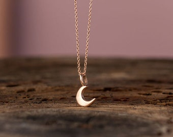 Rose Gold Moon Necklace 14k solid Gold Extra Tiny Crescent Moon Pendant Gift for Her Anniversary gift birthday Gift bridal Dainty  lunar