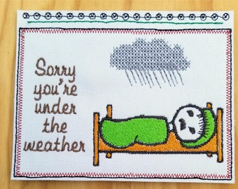 Embroidery Greeting Cards by DiElobi – Get Well Card #2
