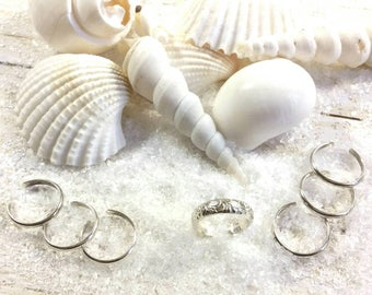 Sterling Silver Toe Ring Wedding Package- Floral Brides Ring, half round bridesmaids rings choose your wedding party size