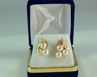 Vintage 14K Gold and Akoya Pearl Earrings, Akoya Salt Water Pearl Earrings, Real Salt Water Pearls, Pearl Earrings, Wedding Earrings, Bridal