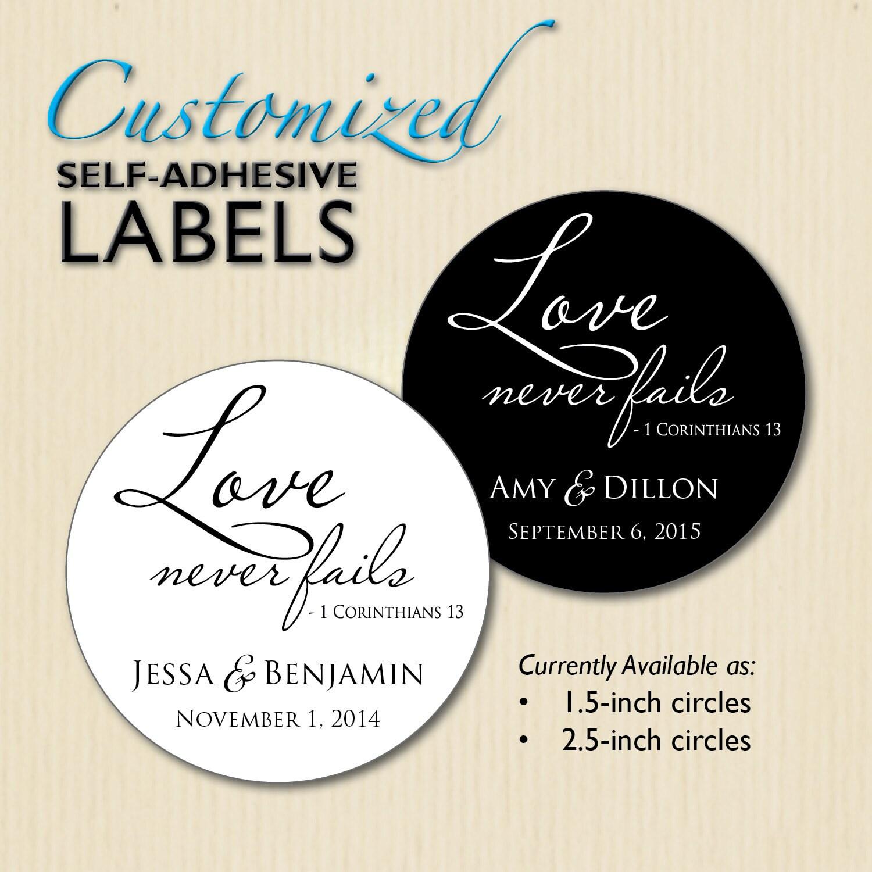 LOVE NEVER FAILS Christian Wedding Favor Label 1 Corinthians