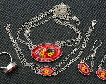 Silver Mosaic Necklace (Floral Red)