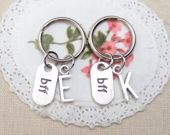 2 personalized Best Friend keychains keyrings, sterling silver filled, bff, best friend forever, monogrammed brothers keychains,bff keychain