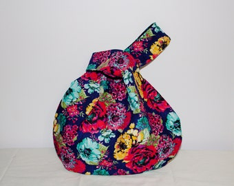 Japanese Knot Bag/Knitting Bag    Floral print on navy blue background