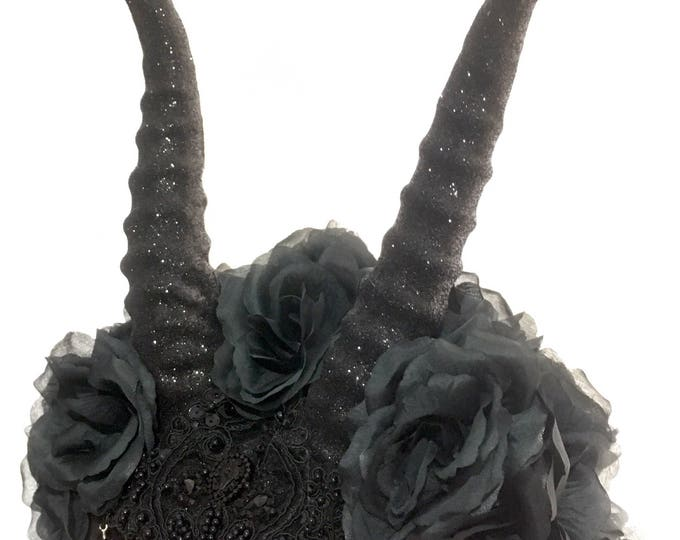 Handmade hat with frontal hand molded Antilope horns roses lace feathers and decorations