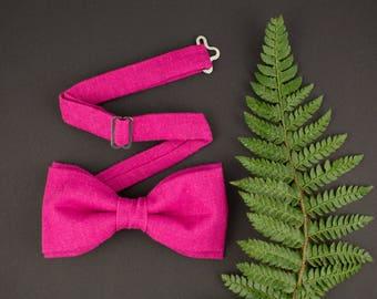 Magenta Bow Tie Linen Bow Tie for Men Fuchsia Bow Tie Deep Pink Bow Tie Mens Bow Tie Gift for Men Wedding Bow Tie Prooms Bow Tie for Women