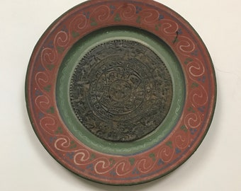 Hand Painted Mexican Aztec Calendar Ceramic Plate