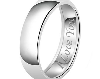 8mm I Love You Engraved Classic Sterling Silver Plain Wedding Band Ring
