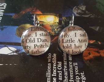 Where the Red Fern Grows Old Dan and Little Ann book page earrings