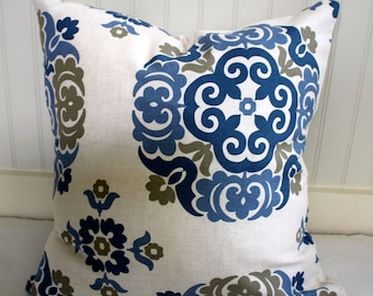 Blue, Tan and Ivory Medallion Pillow Covers / Designer Fabric / Handmade Custom Home Decor Accent Pillows