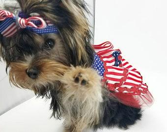 Patriotic Pet Dress/Patriotic Dog Dress/4th of July Dog Dress/Pet Dress/Patriotic Dress/4 of July Pet Dress.