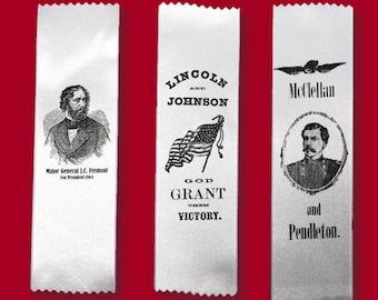 1864 Campaign Ribbon - Lincoln, McClellan or Fremont