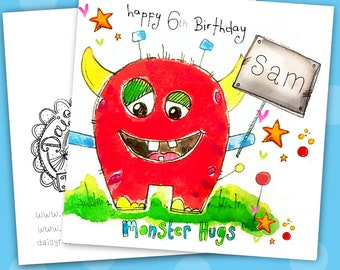 Monster Hugs personalised 6 inch white linen card print from an original watercolour