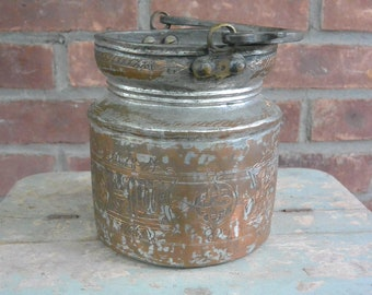 Etched Eastern Rite Holy Water Bucket, Aspersorium, Copper Wash, OR Re-Purpose Wine Bucket