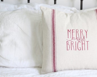 Merry and Bright Grain Sack Pillow Cover, Available in Blue, Tan, Black, and Red