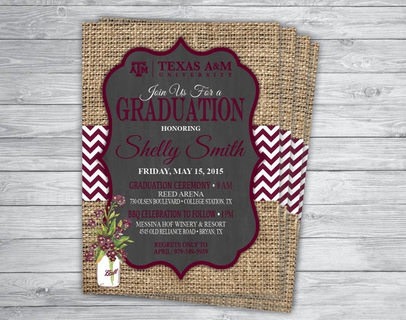 AGGIE Any EventColor MAROON Texas A M GRADUATION Announcement
