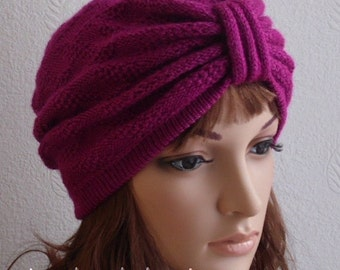 Women's turban hat, fashion turban, winter turban, handmade hat for women, women's knitted hat, knitted from acrylic yarn